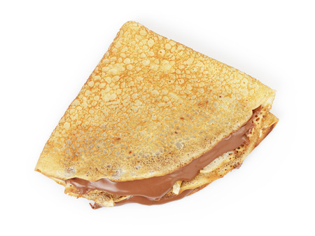 fresh hot blinis or crepes  with chocolate spread isolated on white 스톡 콘텐츠