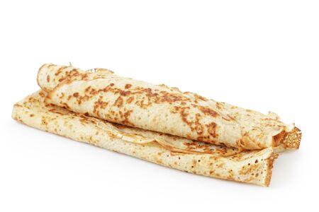 pancake week: freshly baked rolled blinis or crepes isolated Stock Photo