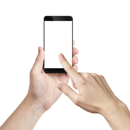 business phone: young man hand holding smarphone with white screen, isolated Stock Photo