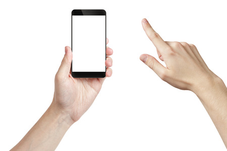 young man hand holding smarphone with white screen, isolated Stockfoto