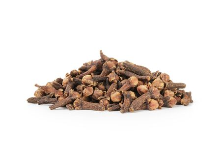 spice isolated: heap of dry cloves spice isolated on a white Stock Photo