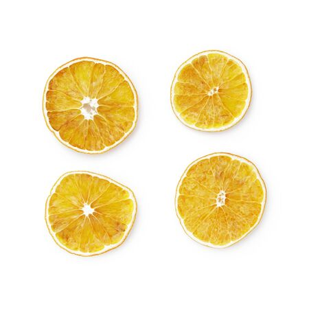 christmas scent: dried slices of orange isolated on white background Stock Photo