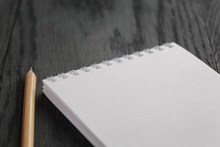 a literary sketch: closeup photo of open empty notepad with pencil, on wood table