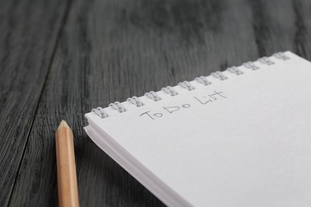 a literary sketch: closeup photo of open empty notepad with to do list phrase, on wood table