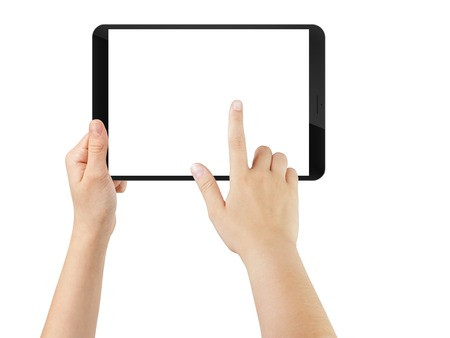 finger teen: female teen hand using tablet pc with white screen, isolated on white