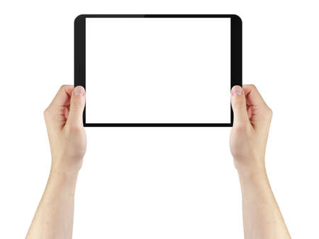 blank tablet: young man hands using tablet pc with blank screen, isolated on white Stock Photo