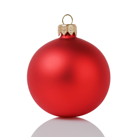 decors: red christmas ball isolated on white background Stock Photo