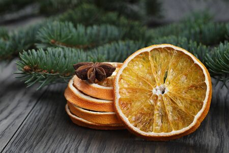 fir twig: orange and anise with fir twig, photo with shallow dof