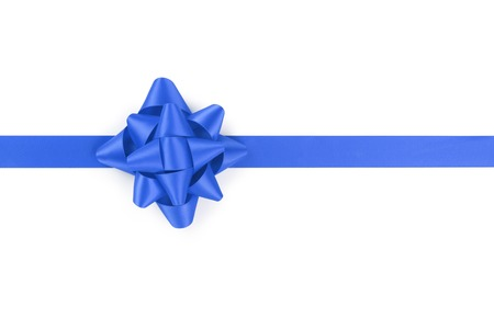 satin ribbon: blue ribbon with gift bow isolated on white background
