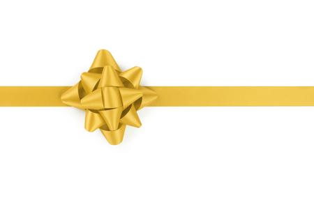 yellow ribbon with gift bow isolated on white background
