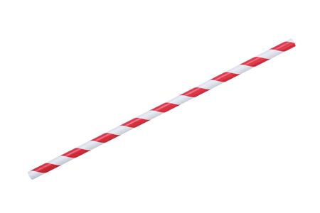 a straw: red striped papaer straw, isolated on white Stock Photo