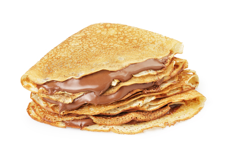 fresh hot blinis or crepes withc chocolate cream isolated on white
