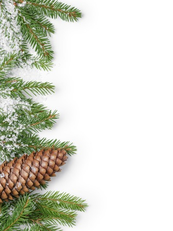 fir branches border on white background, good for christmas backdrop Stockfoto