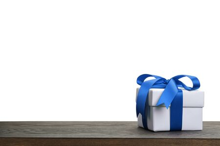 birthday presents: border with white gift box with blue ribbon bow, holiday template Stock Photo