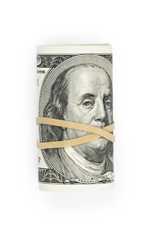 dollar: mucchio di banconote da cento dollari legate con nastro di gomma, isolato su sfondo bianco Archivio Fotografico