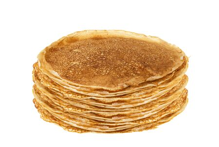 blinis or crepes in a stack isolated on white background Stock Photo