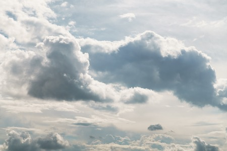 puffy: white sky with dramatic clouds, puffy fluffy clouds Stock Photo