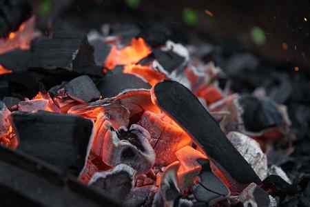 brazier: charcoal in bbq brazier closeup, shallow focus