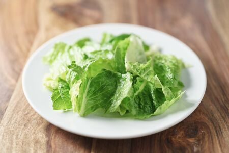 romaine lettuce: torn romaine lettuce leaves in plate on wood table, diet food