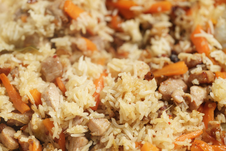 pilaf with pork closeup background photo, shallow focus