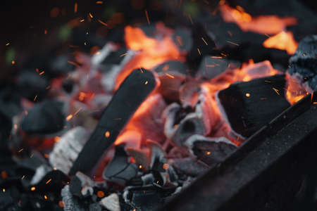 brazier: hot charcoal in brazier for bbq Stock Photo