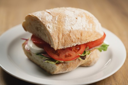 ciabatta sandwich with speck, mozzarella and vegetables, shallow focus