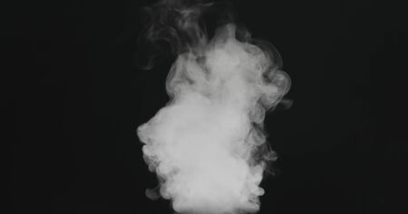 water vapor stream comes from below over black background with motion blur