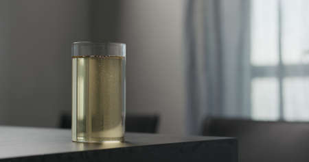 soda drink in highball glass on concrete countertop with copy space
