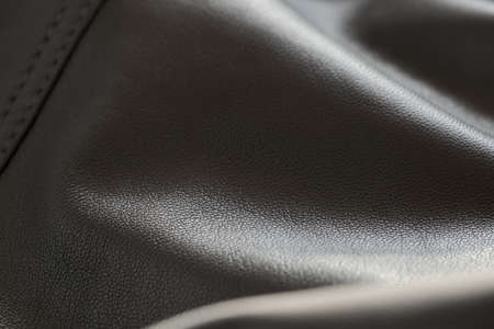 Detail shot of supple leather jacket with stitching