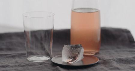 big ice rock with tumbler glass