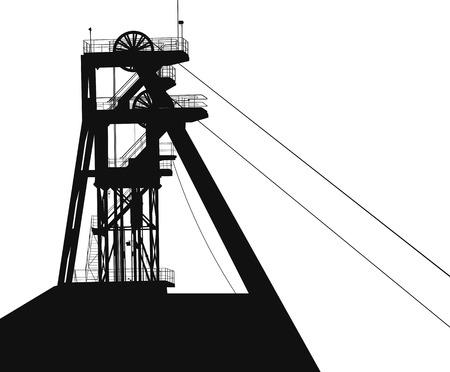 workings: large vector silhouette. A special elevator for raising mineral resources Illustration
