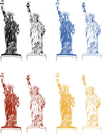 american stories: 8 Statues of Liberty in the set. Black. Red. Blue. Yellow. Inverted. Ready to print to the Independence Day on July 4.