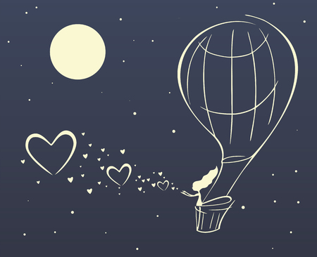 beautiful girl flies on a balloon fly a lot of hearts Vector