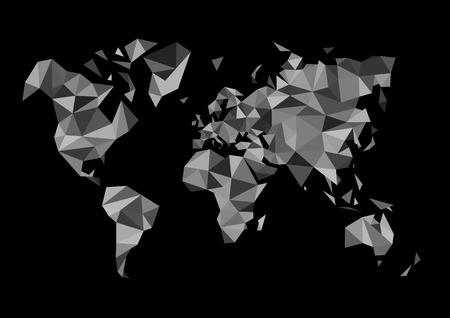 dessin noir et blanc: carte monochrome monde fait dans le style de dessin polygone blanc noir