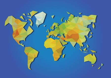 simplified: polygonal physical map of the world made up of polygons
