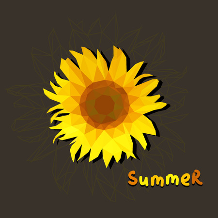 polygonal sunflower on a brown background with text summer. square crop Vector