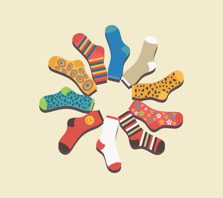 Vector colored socks in a circle on a beige background