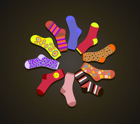 Vector colored socks in a circle on a brown background Ilustracja