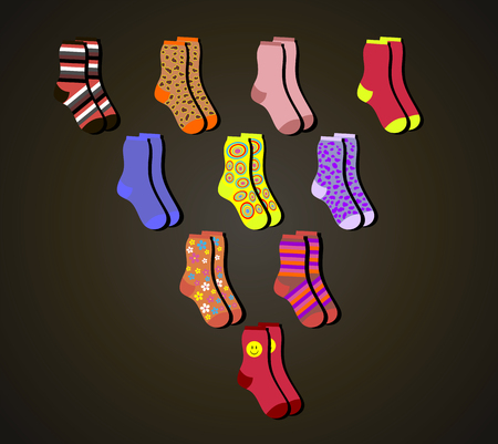 vector colorful socks a triangle on a brown background Ilustracja