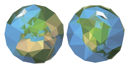 sides: polygonal earth. origami style. 2 sides.