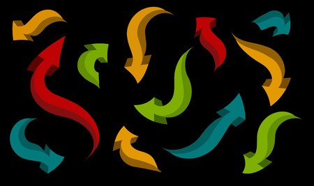 seamless background. set of arrows of different shapes and colors on a black background Vector