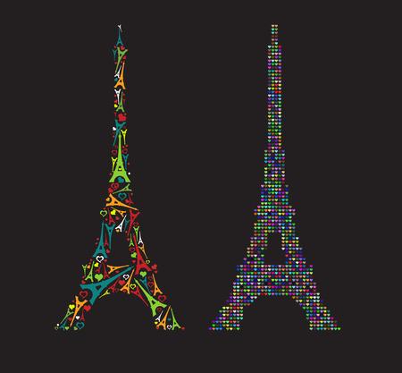 작은 멀티 요소 에펠 타워와 마음 구성된 풀 컬러 에펠 탑 (Eiffel Tower) 일러스트