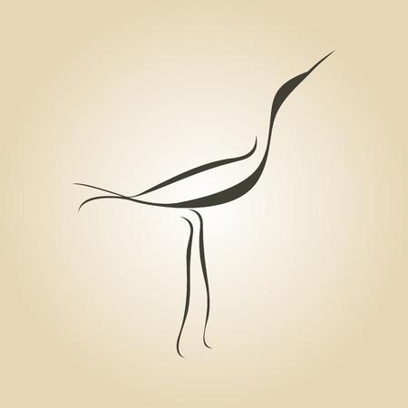 oiseau dessin: courbes vectorielles grue héron oiseau dessiné Illustration