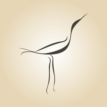 black bird: vector curves drawn heron crane bird Illustration