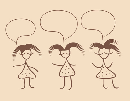 funny hair: girl silhouette funny hair on vintage beige background with dialogue. Illustration