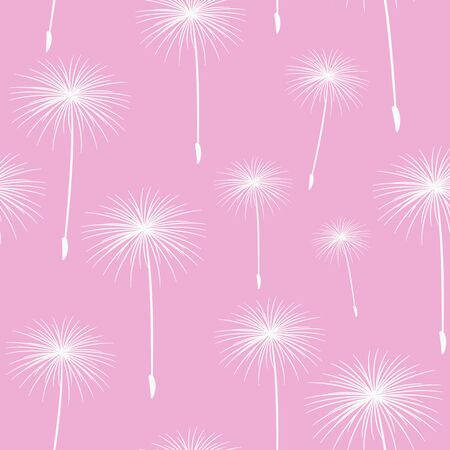 fluffy: pattern seamless texture background fluffy dandelion white on pink. Illustration
