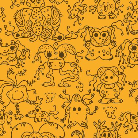 space invaders game: pattern seamless texture ufo alien monsters bacteria virus man black on orange.
