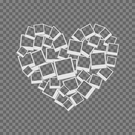 abstract heart: heart filled frames for photos with transparent backgrounds on transparent light Illustration