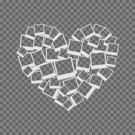 heart filled frames for photos with transparent backgrounds on transparent light Illustration