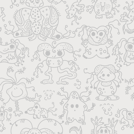 space invaders game: pattern seamless texture ufo alien monsters bacteria human viruses gray on white.